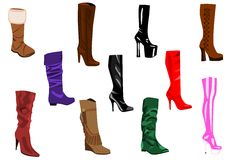 Women's boots collection Stock Image