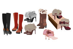Women's boots In the fall and winter Royalty Free Stock Image