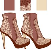 Womens boots lace. Womens boots decorated with vintage lace and embroidery Royalty Free Stock Photos