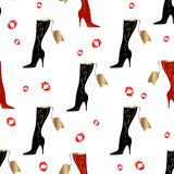 Women`s boots. Seamless pattern. Lipstick print. White background.Vector vector illustration