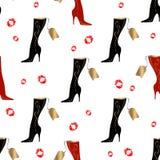 Women`s boots. Seamless pattern. Lipstick print. White background.Vector vector illustration