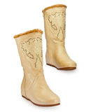Women's boots. Winter, warm fur on a white background royalty free stock images