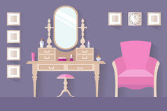 Women`s boudoir. Interior design, vector dressing room. Design of a female boudoir. Vector interior. Dressing table. Women`s room royalty free illustration