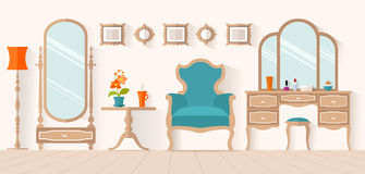 Women's boudoir. Interior design, vector dressing room. The interior of the dressing room with furniture in flat style. Vector illustration. Interior design stock illustration