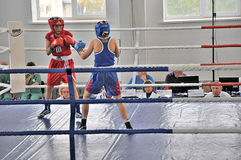 Women's boxing. October 18, 2012, Russian Championship in boxing among women, the city of Orenburg Royalty Free Stock Photos