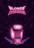Womens boxing gloves pink. Vector sport background with cup. Ep. S 10 vector illustration