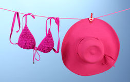 Women's bra swimsuit and hat Royalty Free Stock Photo