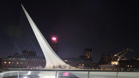 Women's Bridge of Buenos Aires. BUENOS AIRES - MARCH 27: Women's Bridge in the night on March 27, 2013 in Buenos Aires Royalty Free Stock Image