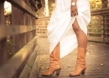 Women's Brown Leather Chunky Heel Calf Boots Stock Photography