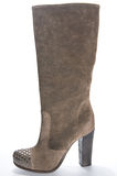 Women's brown suede high-heeled boots. 