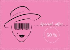 Women`s Business Card. Vector - Illustration - Drawing Royalty Free Stock Images