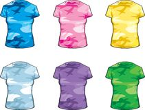 Women's Camoflauge. A variety of ladies' bright colored camoflauge shirts Stock Photo