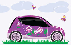 Women's car. With a pink painted flowers is on the grass Stock Image