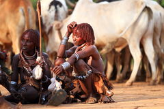 Women's chat. Women chatting in Ethiopia while herding cows Stock Photos