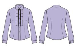 Women's classic business shirt with long sleeves and shirt front. Stock Photos