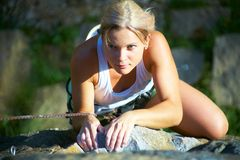 Women's climbing Royalty Free Stock Images
