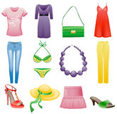 Women's clothes and accessories summer icon set. Royalty Free Stock Image
