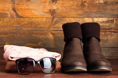 Women's clothing and accessories Royalty Free Stock Images