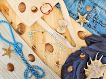 Women's clothing, beads and seashells Royalty Free Stock Image