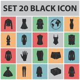 Women`s Clothing black icons in set collection for design.Clothing Varieties and Accessories vector symbol stock web Royalty Free Stock Images