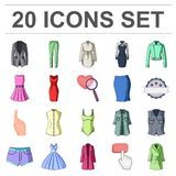 Women`s Clothing cartoon icons in set collection for design.Clothing Varieties and Accessories vector symbol stock web Royalty Free Stock Image