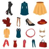 Women`s Clothing cartoon icons in set collection for design.Clothing Varieties and Accessories vector symbol stock web. Women`s Clothing cartoon icons in set Stock Images