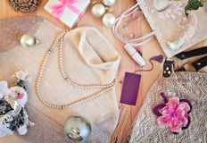 Women's clothing and Christmas gifts. Toning. Stock Photography