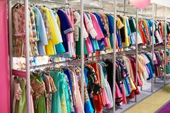 Women`s clothing in store Royalty Free Stock Photos