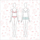 Women's Clothing. Lingerie. panties. bra. top. shorts. Stock Photography