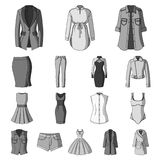 Women`s Clothing monochrome icons in set collection for design.Clothing Varieties and Accessories vector symbol stock Stock Photo