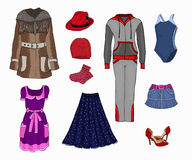 Women's clothing. Outdoor clothing, footwear, headgear. Women's clothing. Clothes for sports. Vector Stock Images