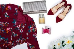 Women`s fashion stuff on top royalty free stock image