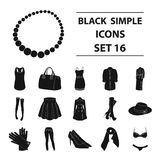 Women`s clothing set collection icons in black style vector symbol stock Stock Photography