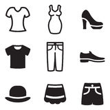Women´s Clothnig Icons Stock Images