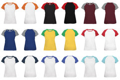 Women's 2-color raglan sleeve t-shirt Stock Photography