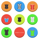 Women's corsets icons. Set of icons with different types of women's corsets Stock Images