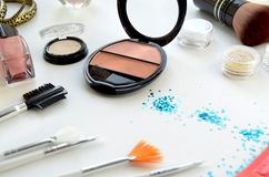 Women`s cosmetics. On white background Royalty Free Stock Photography