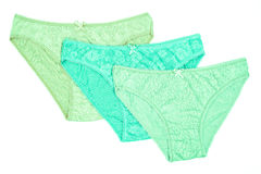 Women`s cotton panties flowered isolated on white background. Stock Images
