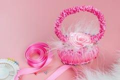 Women`s creativity, hobby. Decorative basket of satin ribbons handmade. Copy space royalty free stock photo