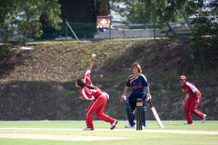 Women's Cricket Action Stock Photo