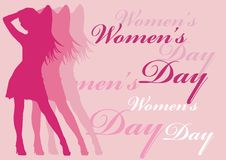 Women's day. Pink women silhouette and pink background with women's day text Royalty Free Stock Photos