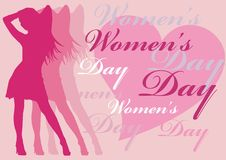 Women's day. Pink women silhouette with women's day text illustartion Stock Image