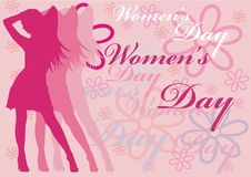 Women's day. Pink women silhouette with flowers and women's day text illustration Royalty Free Stock Images