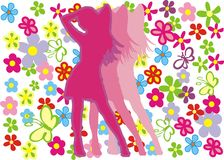 Women's day. Pink women silhouette with flowers illustration Royalty Free Stock Photography