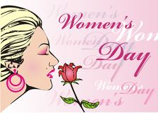 Women's day. Beautyful women and red rose graphic illustration Stock Photos