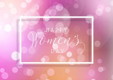 Women`s Day background with bokeh lights. Design and white frame Royalty Free Stock Photos
