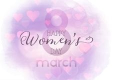 Women`s Day background with watercolour texture Stock Photography