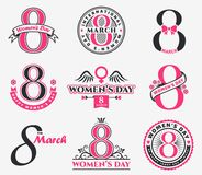 Women`s Day badges and emblems. International Women`s Day greeting badges, emblems and design elements isolated on white background. Vector set for 8th of March Royalty Free Stock Images