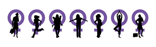 Women's Day Banner. Silhouettes of women and venus symbol to represent International Woman's Day Stock Photos