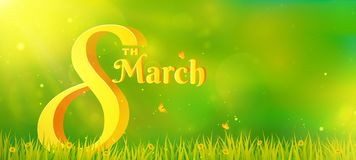 Women`s Day banner. Women`s Day banner with volumetric number and text. Horizontal nature background with copy space. Vector illustration for March 8th royalty free illustration